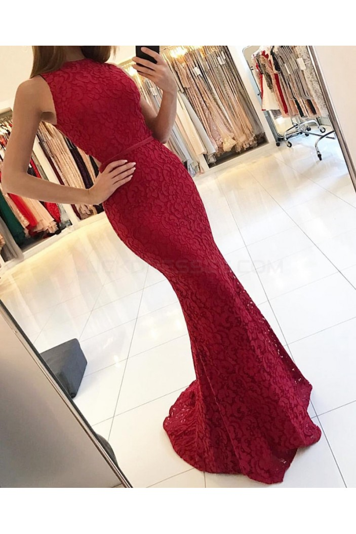 Mermaid Sleeveless Lace Long Prom Formal Evening Party Dresses 3021330