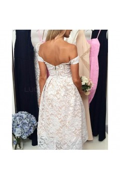 High Low Off-the-Shoulder Lace Prom Formal Evening Party Dresses 3021331