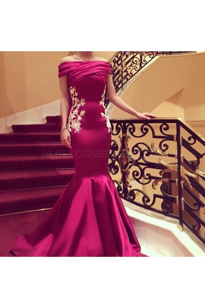 Mermaid Off-the-Shoulder Lace Appliques Prom Formal Evening Party Dresses 3021332