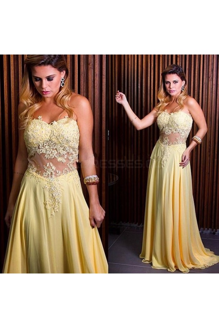 Long Yellow Lace Appliques and Chiffon Prom Formal Evening Party Dresses 3021337