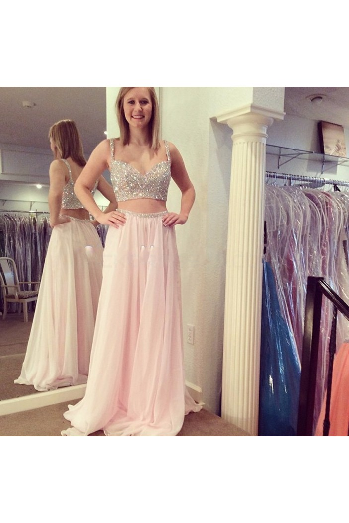 Beaded Two Pieces Long Prom Formal Evening Party Dresses 3021338