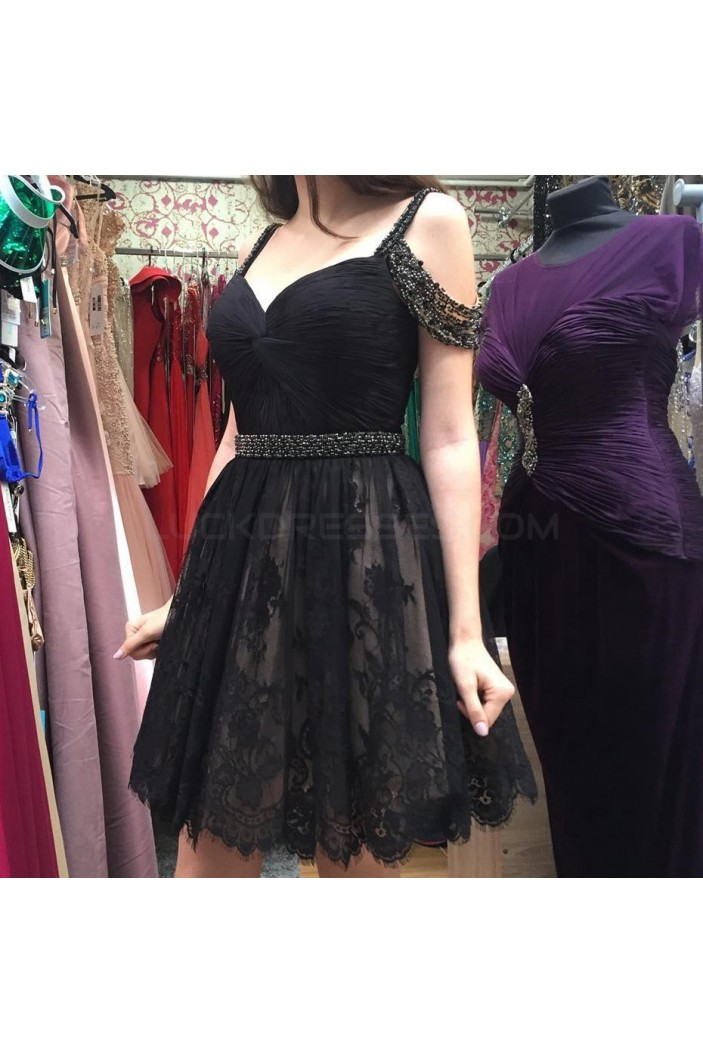 Beaded Short Black Lace Prom Homecoming Cocktail Graduation Dresses 3021339