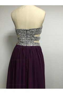 Grape Purple Sequins Chiffon Split Long Prom Evening Formal Dresses 3020134