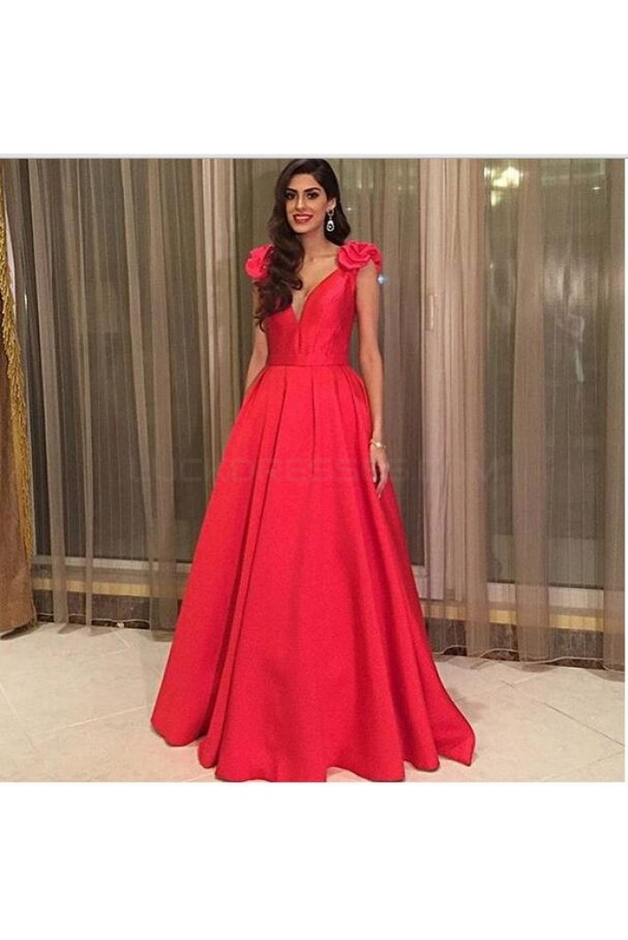 A-Line Long Red V-Neck Prom Formal Evening Party Dresses 3021341