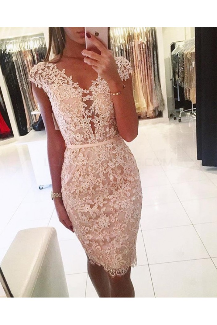 Cap Sleeves Lace Short V-Neck Prom Formal Evening Party Dresses 3021344