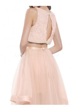 Long Pink Beaded Two Pieces Prom Formal Evening Party Dresses 3021346