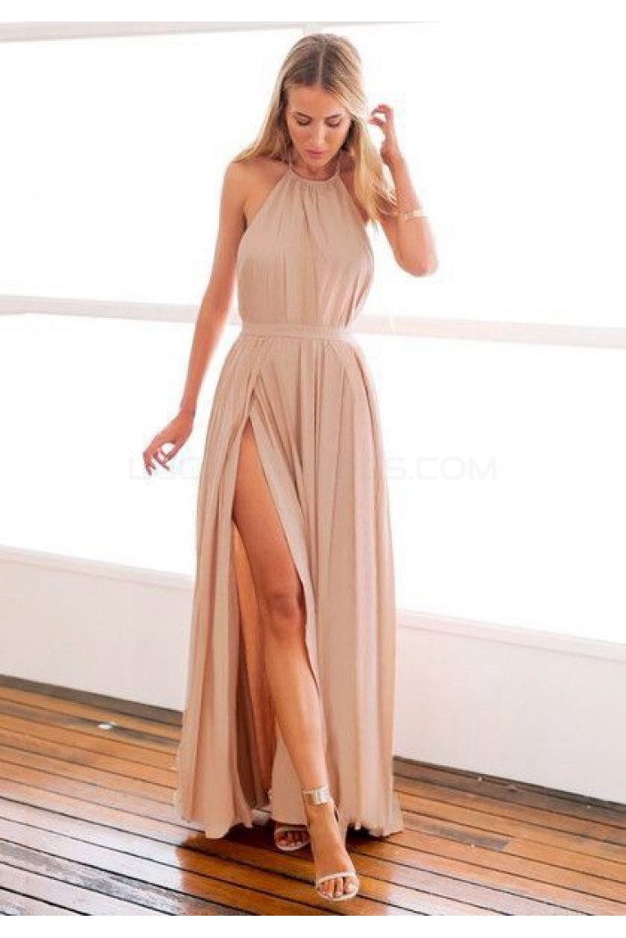 Long Chiffon Halter Prom Formal Evening Party Dresses with Slit 3021347