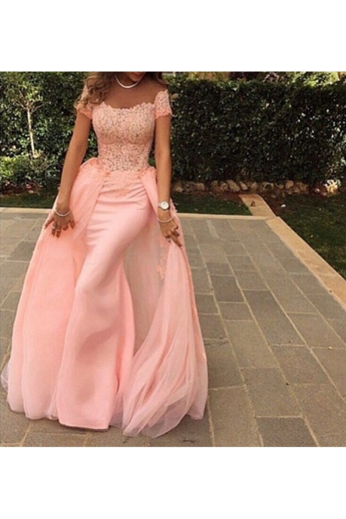 Long Pink Lace Prom Formal Evening Party Dresses 3021351