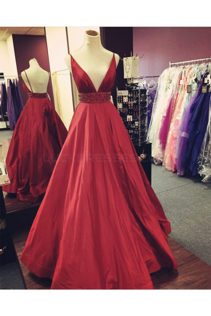 Beaded V-Neck Spaghetti Straps Prom Formal Evening Party Dresses 3021355