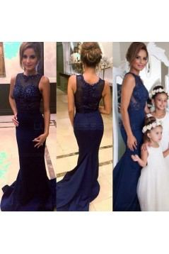 Navy Blue Mermaid Lace Appliques Top Long Prom Evening Formal Dresses 3020136