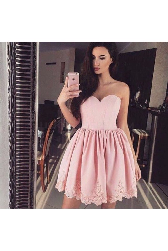 Short Pink Lace Sweetheart Homecoming Cocktail Graduation Prom Dresses 3021361