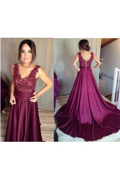 Long Purple Lace V-Neck Prom Formal Evening Party Dresses 3021362