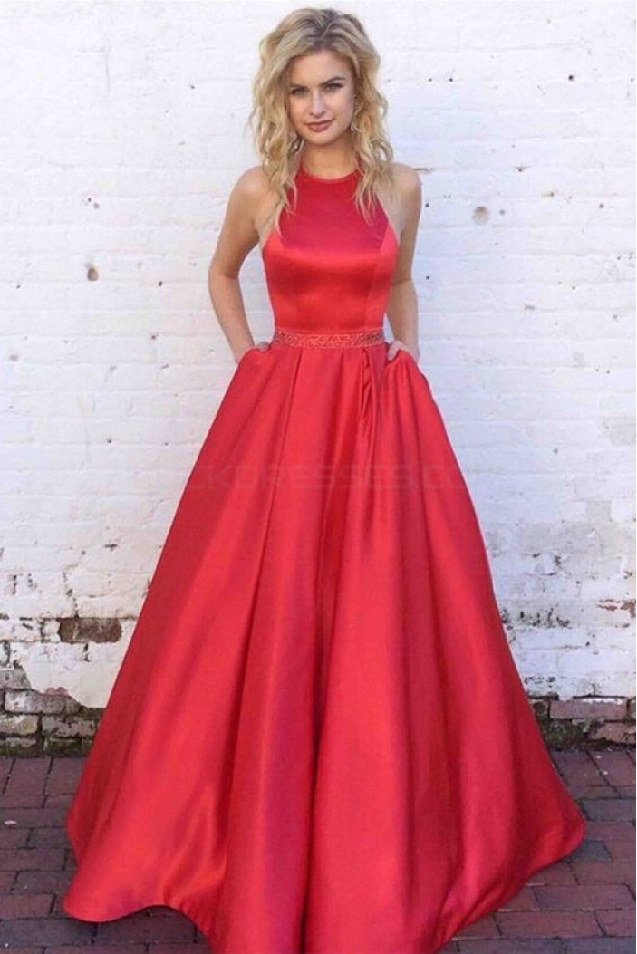 A-Line Halter Beaded Long Prom Formal Evening Party Dresses 3021365
