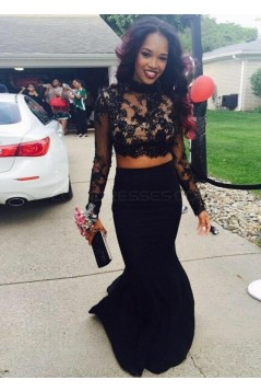 Black Two Pieces Long Sleeves Lace Top Long Prom Evening Formal Dresses 3020137