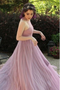 Long Purple Pleated Prom Formal Evening Party Dresses 3021370