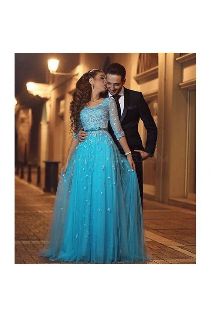 Long Blue 3/4 Length Sleeves Lace Prom Formal Evening Party Dresses 3021371