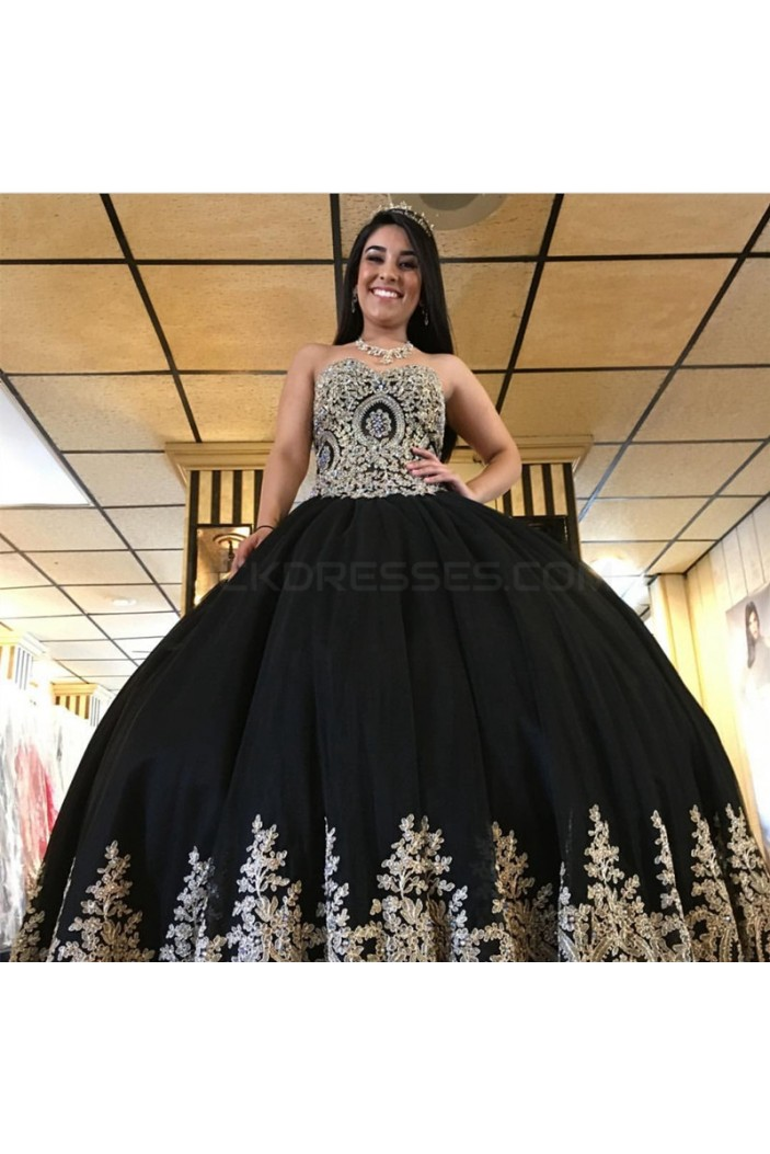 Ball Gown Black Lace Appliques Long Prom Formal Evening Party Dresses 3021376