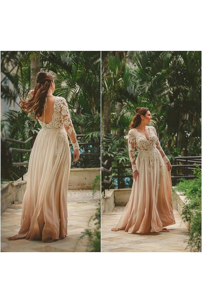 Long Sleeves Lace V-Neck Prom Formal Evening Party Dresses 3021379