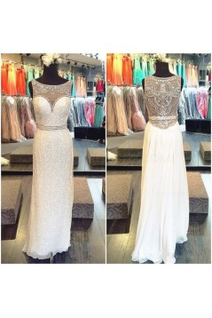 Beaded Sequins Long White Prom Evening Formal Dresses 3020138