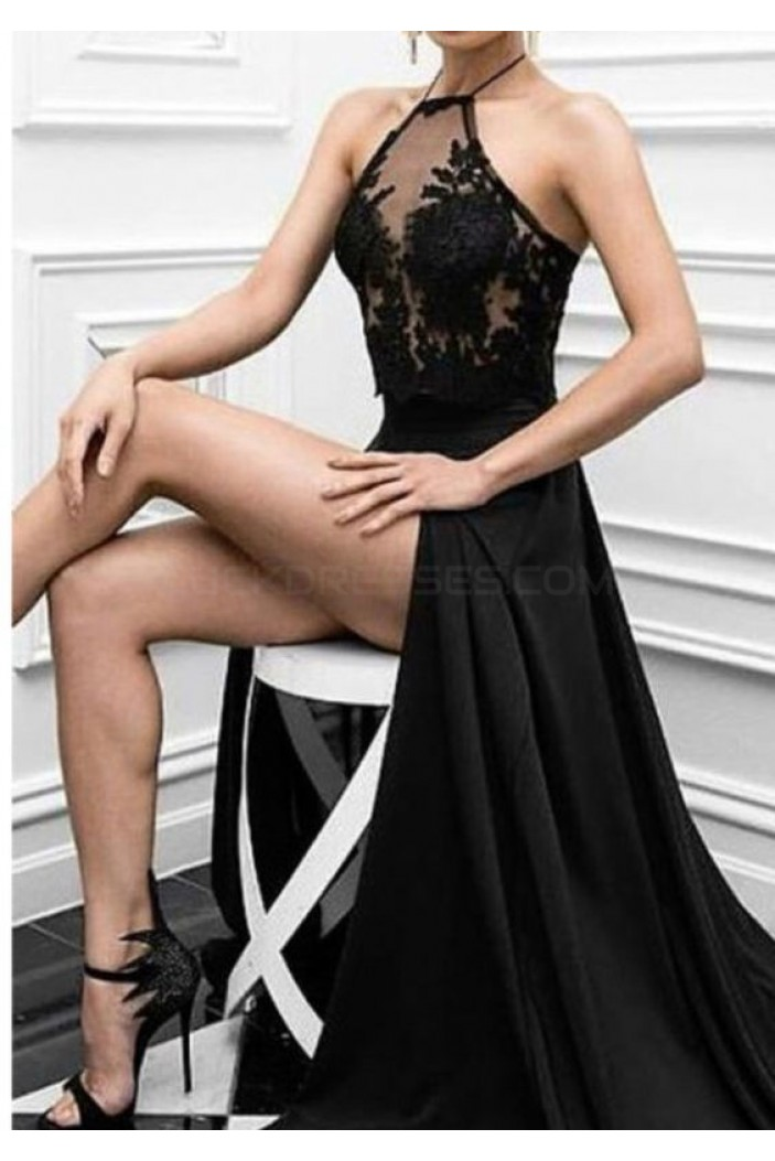 Long Black Lace High Slit Prom Formal Evening Party Dresses 3021383