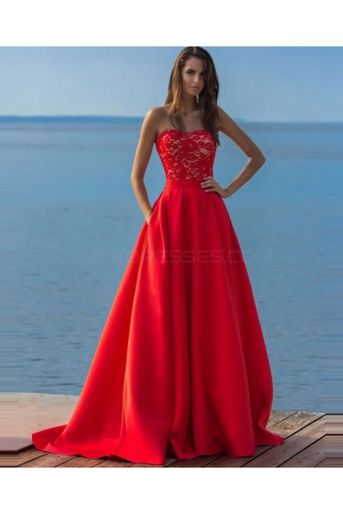 Long Red Lace Strapless Prom Formal Evening Party Dresses 3021384