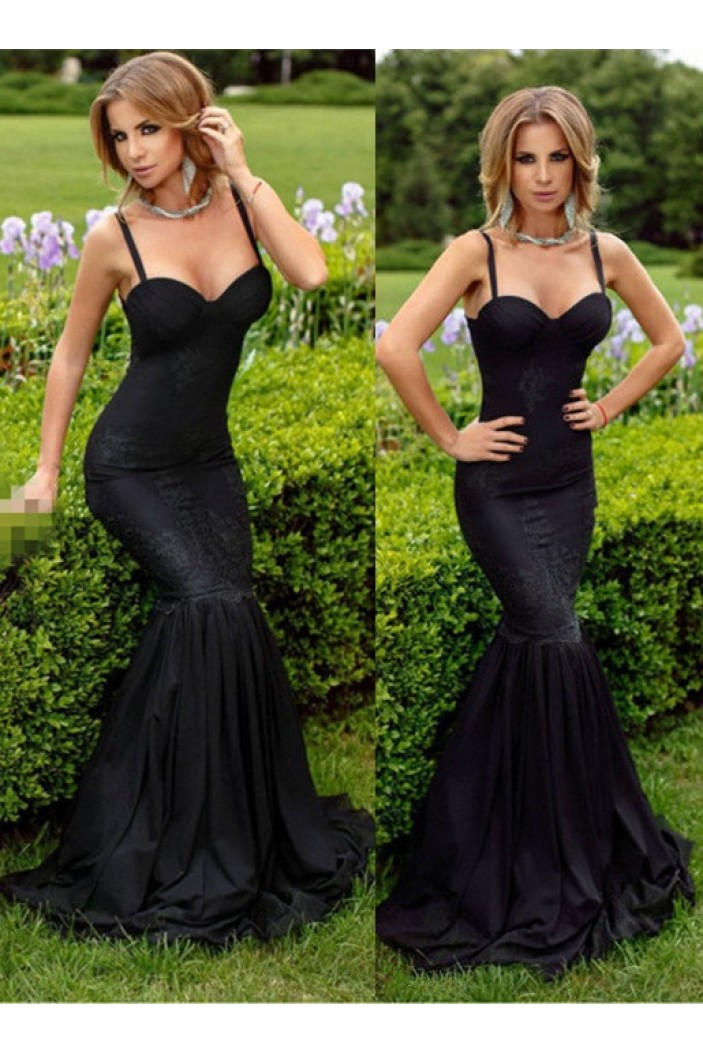 Mermaid Long Black Spaghetti Straps Lace Prom Formal Evening Party Dresses 3021385