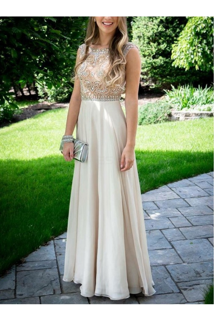 A-Line Beaded Long Chiffon Prom Formal Evening Party Dresses 3021386