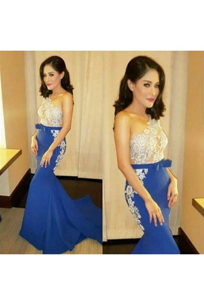 Long Blue Mermaid One-Shoulder Lace Prom Formal Evening Party Dresses 3021388
