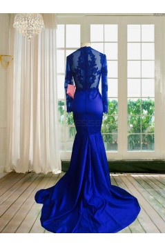 Royal Blue Long Sleeves Mermaid Evening Gowns Sexy Court Train Lace Party Dresses 3020139
