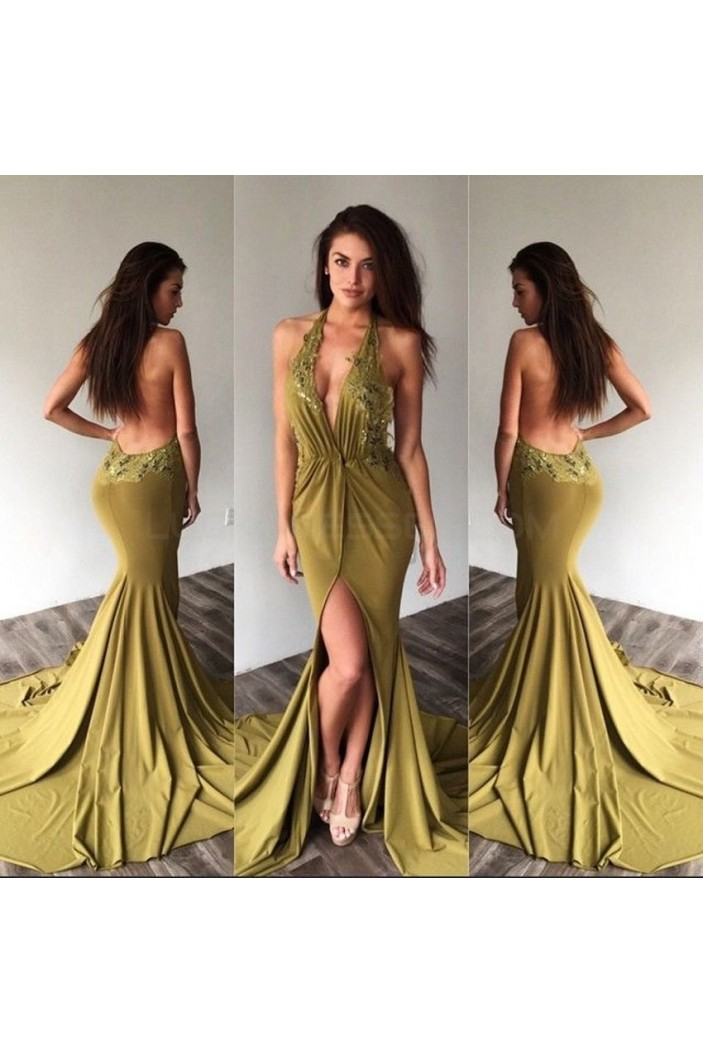 Sexy Mermaid V-Neck Halter Lace Prom Formal Evening Party Dresses 3021390