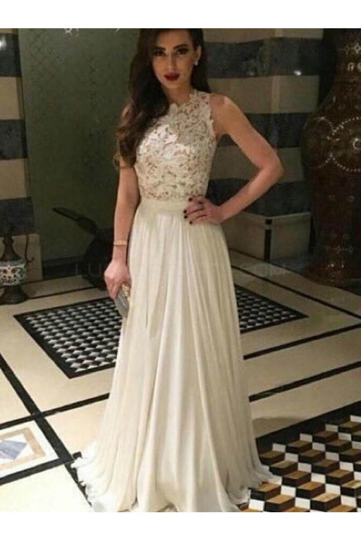 Long White Lace and Chiffon Prom Formal Evening Party Dresses 3021393