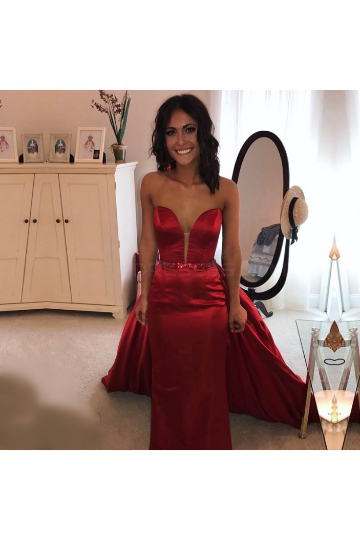 Long Red Sweetheart Beaded Prom Formal Evening Party Dresses 3021396