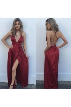 Sexy Deep V-Neck Criss Cross Back Long Burgundy Prom Formal Evening Party Dresses 3021397