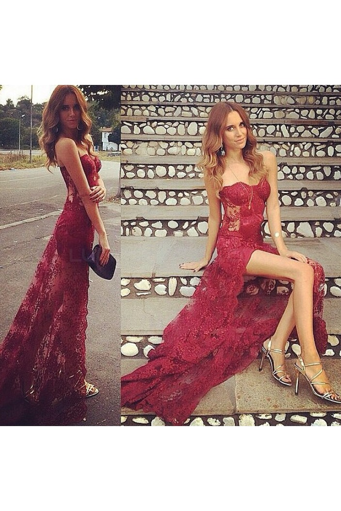 Sexy Lace Long Burgundy Prom Formal Evening Party Dresses with Slit 3021398