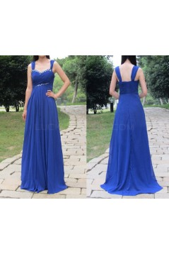 Long Royal Blue Beaded Chiffon Prom Formal Evening Party Dresses 3021399