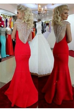 Trumpet/Mermaid Beaded Long Red Prom Dresses Evening Gowns 3020140