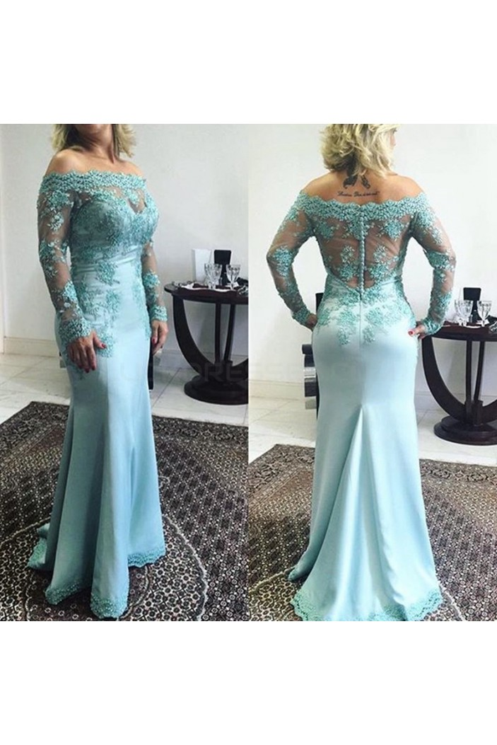 Mermaid Long Sleeves Off-the-Shoulder Lace Prom Formal Evening Party Dresses 3021401