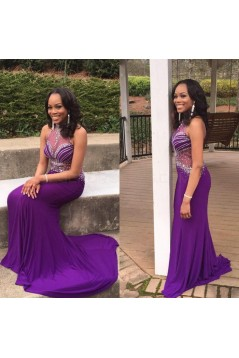 Long Purple Beaded Prom Formal Evening Party Dresses 3021402