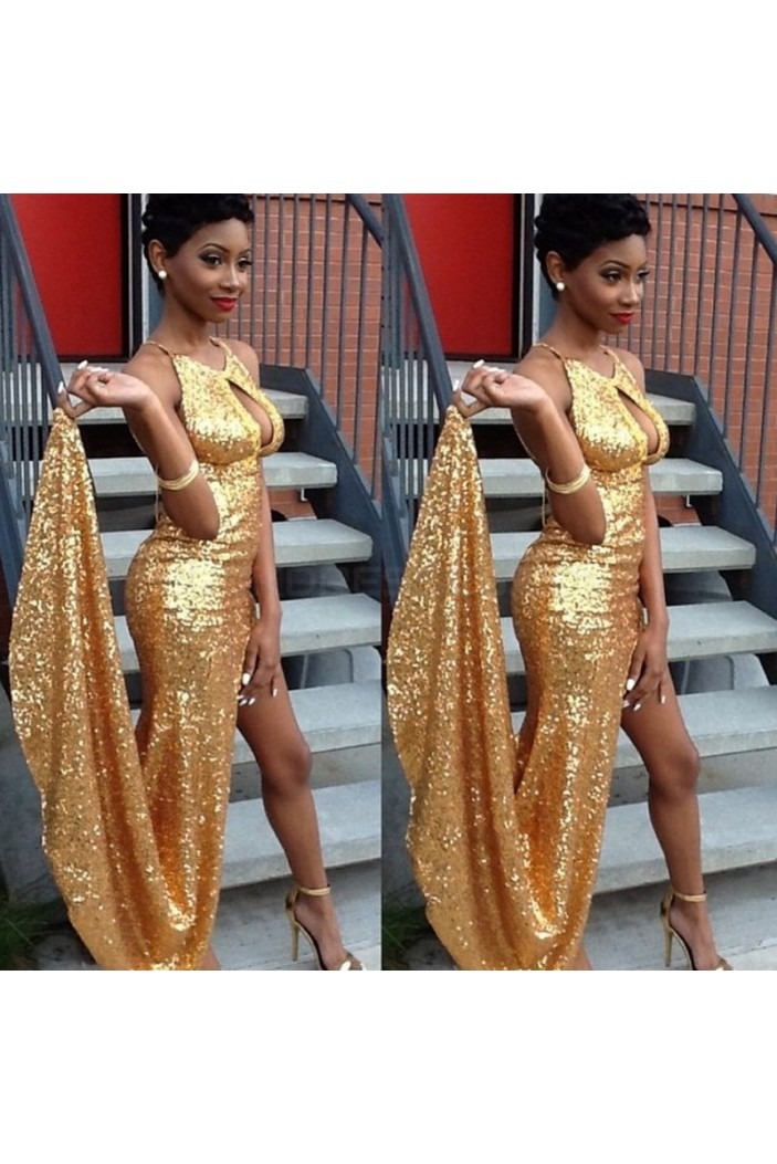 Sexy Gold Sequins Long Prom Formal Evening Party Dresses with High Slit 3021404