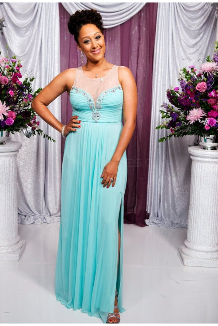 Long Blue Beaded Chiffon Prom Formal Evening Party Dresses 3021406