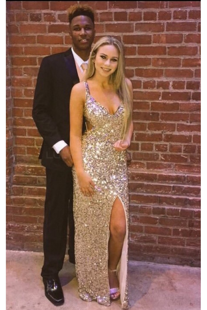 Sexy Sequins V-Neck Long Prom Formal Evening Party Dresses 3021407