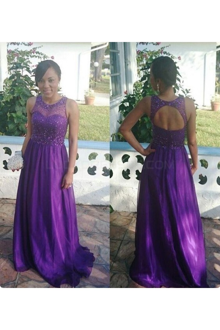 Long Purple Beaded Keyhole Back Prom Formal Evening Party Dresses 3021410