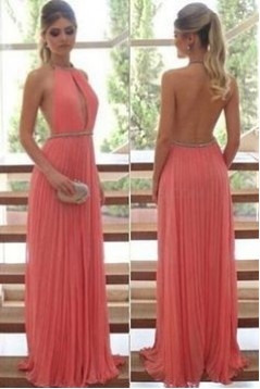 Sexy Halter Backless Chiffon Beaded Prom Formal Evening Party Dresses 3021411