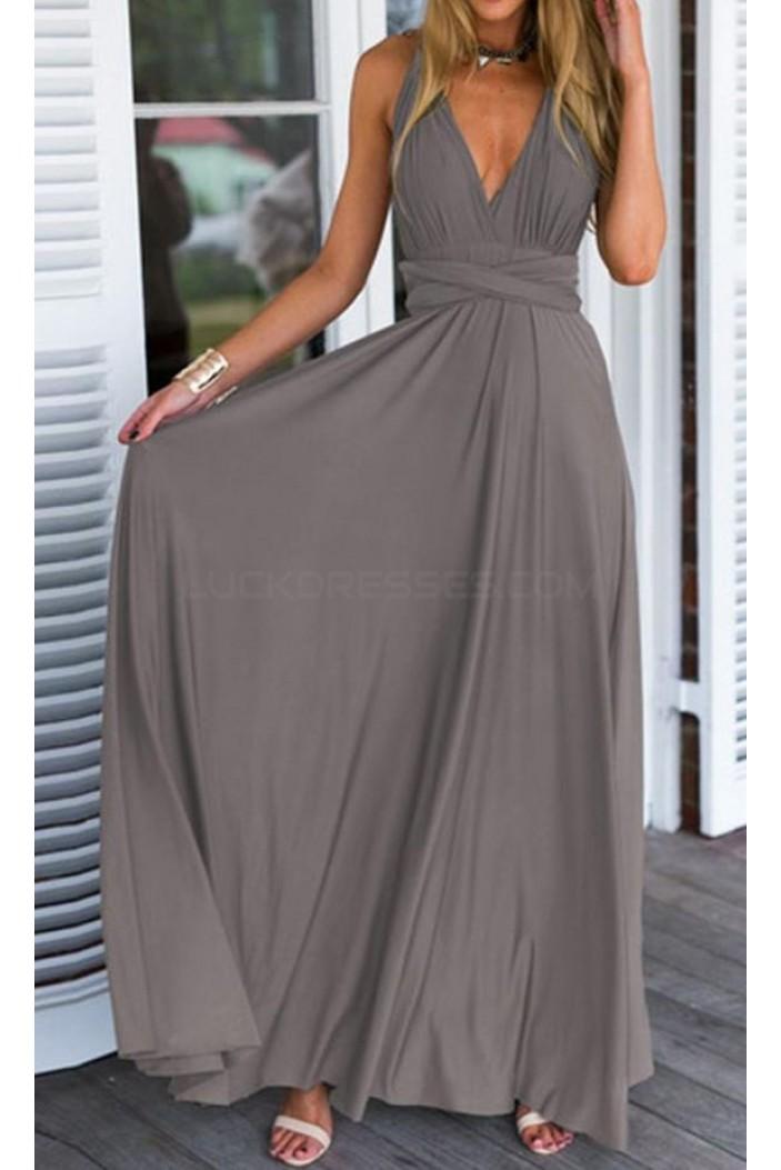 Long Grey V-Neck Chiffon Prom Formal Evening Party Dresses 3021413