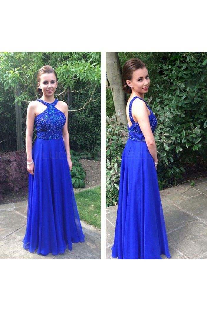 A-Line Long Blue Beaded Prom Formal Evening Party Dresses 3021416