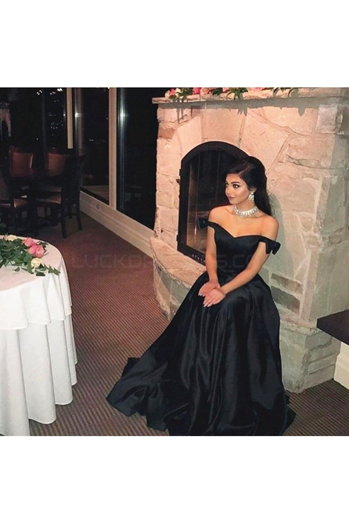 Long Black Off-the-Shoulder Prom Formal Evening Party Dresses 3021423