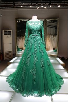A-Line Long Sleeves Green Lace Prom Formal Evening Party Dresses 3021429