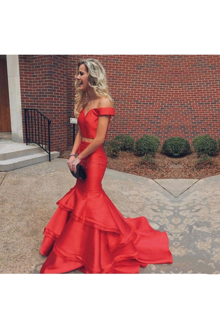 Two Pieces Off-the-Shoulder Mermaid Long Red Prom Formal Evening Party Dresses 3021431