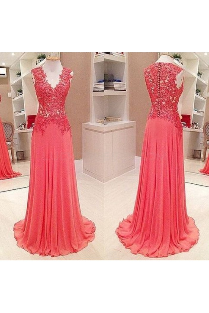 Long V-Neck Chiffon Lace Prom Formal Evening Party Dresses 3021434