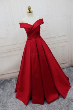 Long Red Off-the-Shoulder Prom Formal Evening Party Dresses 3021435